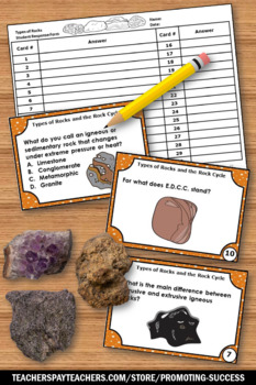 Types of Rocks Activities The Rock Cycle Activities for Science Stations Centers