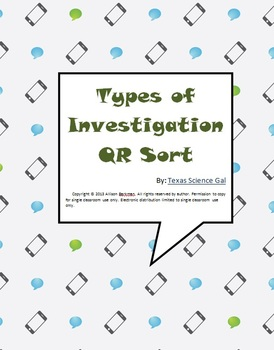 Types of Scientific Investigation QR Sort
