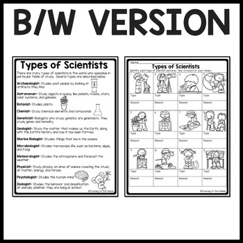 Types of Scientists Identification Worksheet, Science; Occupations