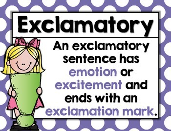 Types of Sentence Posters Rainbow, Polka dot, Grammar, Language Arts