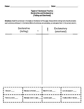 Types of Sentence Practice