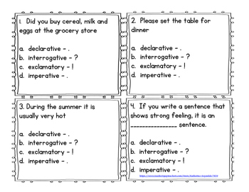 Types of Sentence Task Cards-Task Cards of Types of Sentences