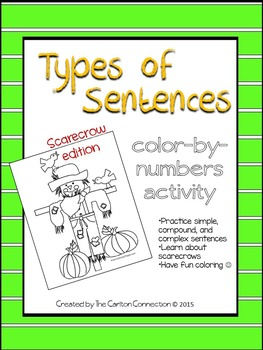 Types of Sentence color by number: Scarecrow Edition