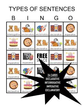 Types of Sentences Bingo
