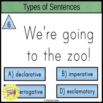 Types of Sentences Clip Cards Declarative Interrogative Imperative Exclamatory