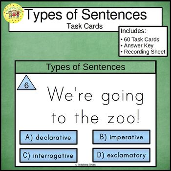 Types of Sentences Task Cards Declarative Interrogative Imperative Exclamatory