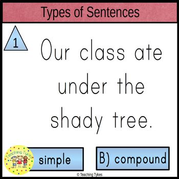Types of Sentences Clip Cards Simple and Compound