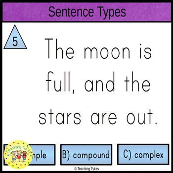 Types of Sentences Clip Cards Simple Compound and Complex