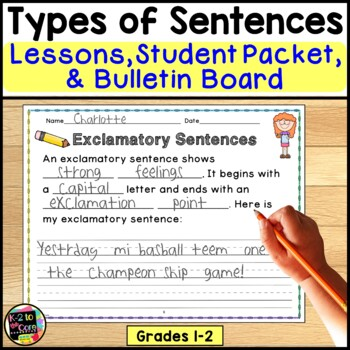 Types of Sentences & Punctuation: Lesson Plans, Student Packet, Bulletin Board