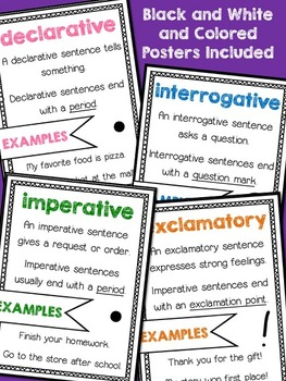 Types of Sentences - 4 Posters and Sorting Activity