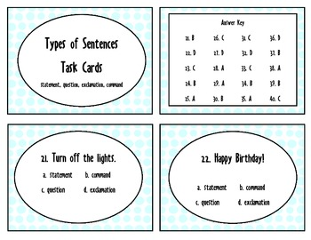 Types of Sentences- 40 task cards for first or second grade