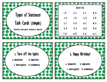 Types of Sentences- 40 task cards for third, fourth, fifth grades