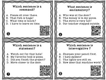 Types of Sentences Task Cards and Worksheets