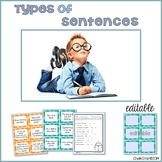 Types of Sentences Activities and Assessments with Editable Cards