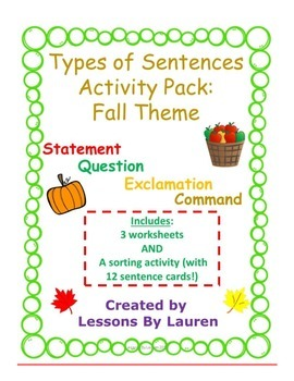 Types of Sentences Activity Pack (FALL Theme)