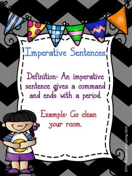 Types of Sentences: Anchor charts, scoot, flip book & worksheet