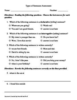 Types of Sentences Assessment
