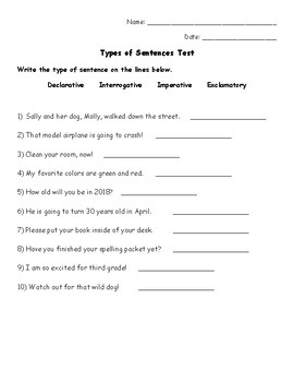 Types of Sentences Assessment