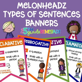 Types of Sentences Banners with a *Melonheadz Kids* Theme