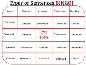 Types of Sentences Bingo