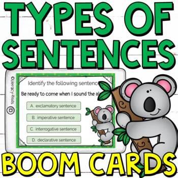 Types of Sentences Boom Cards (Digital Task Cards) for Grades 2-3