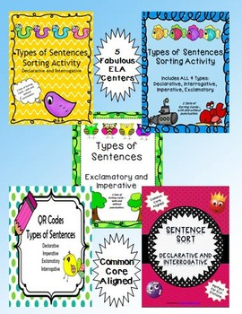 Types of Sentences Bundle 5 ELA Center Activities