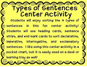 Types of Sentences Center Activity