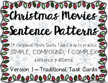simple compound complex sentence pattern task cards christmas