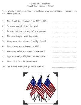 Types of Sentences Civil War Theme