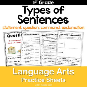 Types of Sentences and End Punctuation Common Core Practice Sheets