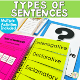 Types of Sentences Unit (Posters Worksheet Activity Task Cards)