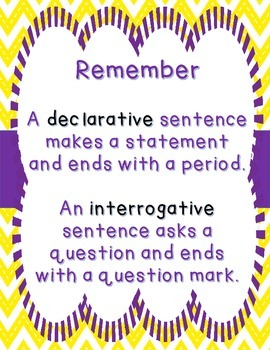 Types of Sentences Sort Declarative & Interrogative - Dinosaur Eggs