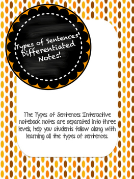 Types of Sentences Differentiated Interactive Notes
