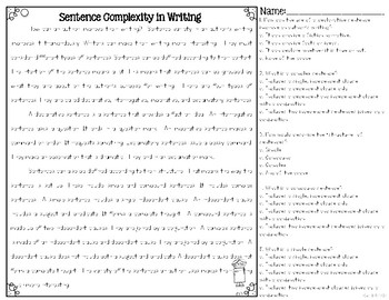 Types of Sentences Differentiated Leveled Texts and Questions