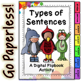 Types of Sentences Digital Interactive Notebook for use with Google Drive