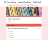 Types of Sentences Digital Quiz for Google Classroom - Dis