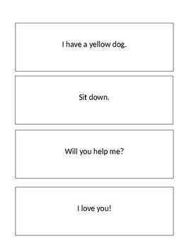 Types of Sentences Flash Cards