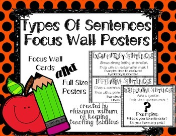 Types of Sentences Focus Wall Cards/Posters
