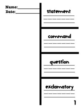 Types of Sentences Foldable; Printable
