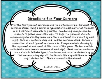 Types of Sentences Four Corners-Declarative-Exclamatory-Imperative-Interrogative