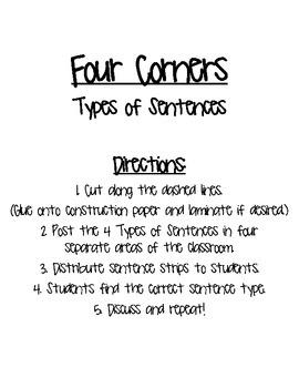Types of Sentences Four Corners Game