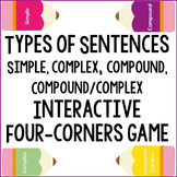 Types of Sentences Four Corners Game ~ Simple, Compound, Complex
