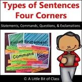 Types of Sentences Four Corners - Statements, Commands, Qu