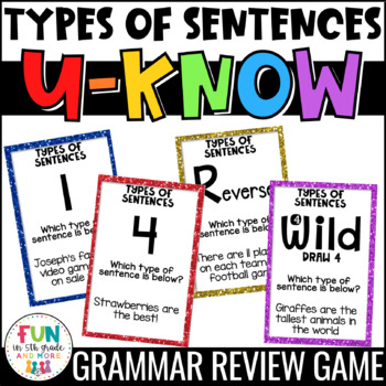 Types of Sentences U-Know Game for Literacy Centers