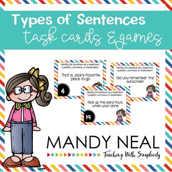 Types of Sentences Grammar Task Cards, Games, and Centers