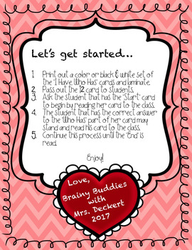 Types of Sentences - I Have, Who Has? Game with a Valentine's Day Theme