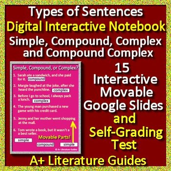 Types of Sentences Interactive Notebook Google Ready Simple, Compound, Complex