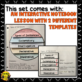 Types of Sentences- Interactive Notebook Lesson & Task Cards