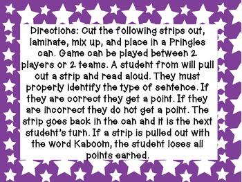 Types of Sentences Kaboom Game