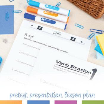 Verbs Grammar Bundle: Pre-test, Worksheets, Task Cards, Sort, Presentations